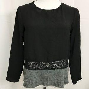 ZaraTop Multi Media Black Gray Long Sleeve